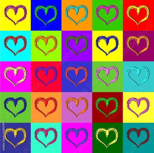 Fototapeta Warhol hearts