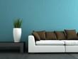 Wohndesign - weisses Sofa mit brauen Kissen