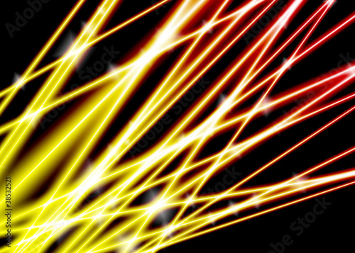 Abstract glowing lines red and yellow