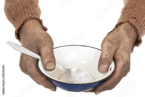 dirty hands with bowl