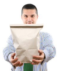 Man with recycled shopping bag isolated on white background.