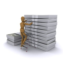 The wooden man climbs a ladder on a stack of dollars
