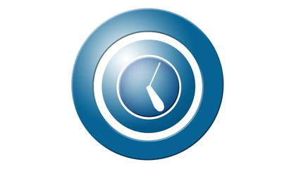 icon of clock. Hand quickly turns the minutes and hours.