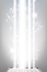 Abstract shiny background with light rays and stars