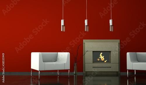 Wohndesign - Sessel weiss vor Kamin