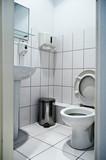 unrecognizable simple interiors toilet poster