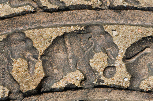 elephants on the lunar rock of ancient Vatadage