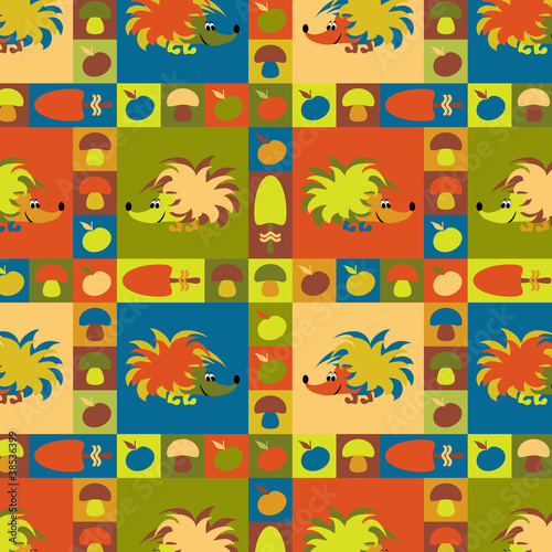 Funny colorful background with hedgehogs, apples and mushrooms - 38536399