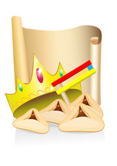 purim cakes and crown with place for text