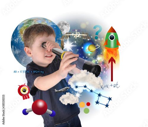 Science Boy Exploring and Learning Space