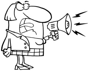 Outlined Mad Business Woman Yelling Through A Megaphone