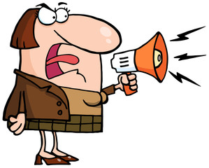 Mad Business Woman Yelling Through A Megaphone