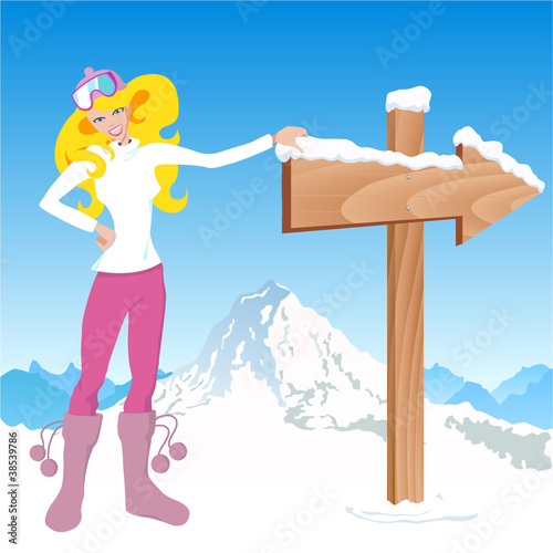 winter girl with direction sign.