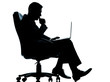 one business man computer computing serious sitting in armchair