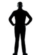 one business man standing hands on hips silhouette
