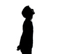 one young teenager boy or girl looking up silhouette