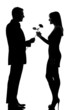one couple man offering rose flower and woman smiling