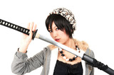 fashionable asian woman with japanese sword