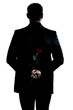 rear view silhouette man portrait holding a rose flower
