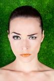 Serious beautiful woman raising an eyebrow poster