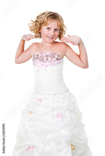 cute teen girl wearing gown isolated on white background