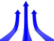 Three blue arrows going up