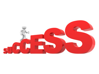 3d people character running up on  success stairs