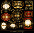 Vector set of black-golden elegance labels
