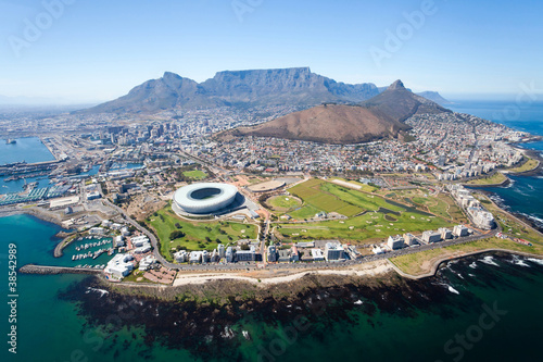 Canvas Zuid Afrika overall aerial view of Cape Town, South Africa