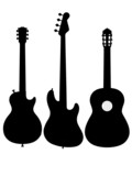guitar electro acoustic silhouette outline poster
