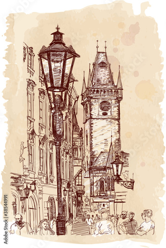 Urban view - Prague, Czech Republic - a vector sketch