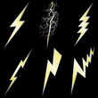 Gold Lightning Bolt with Silver margins set on black