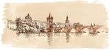 Panorama of Prague. View of Charles Bridge and the Vltava river