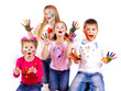 Happy kids with hands painted in colorful paints