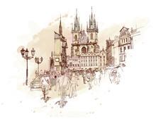 Old Town Square, Prague, République tchèque - un croquis vecteur