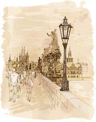 Charles Bridge - Prague, Czech Republic - a vector sketch