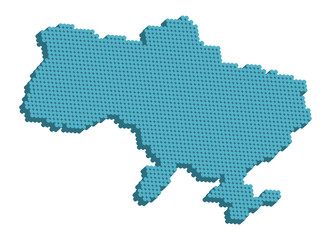 Doted map of Ukraine 3d