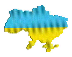 Vector doted map of Ukraine 3d