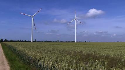 Windräder drehen im Wind und produzieren sauberen Strom