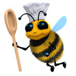 3d Bee in chefs hat with wooden spoon