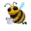 3d Bee with a cup of coffee