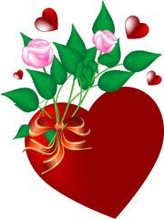 San Valentino - cuore con mazzo di rose