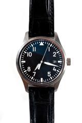 Classic aviator wrist watch over white background.