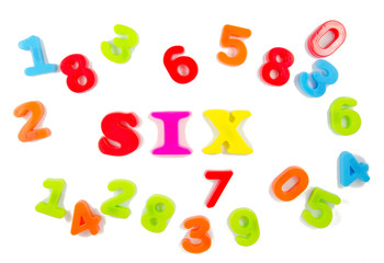 number six surrounded by other numbers