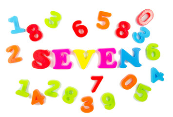 number seven surrounded by other numbers