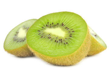 Kiwis Cut in Half Isolated on White Background
