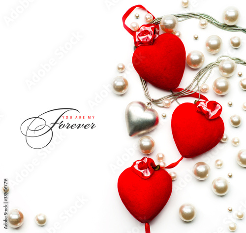 art Valentine Day greeting card with red hearts on white backgro