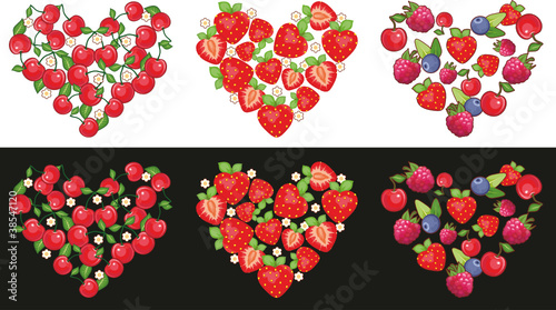 Set of hearts made of fruit and berries on a white and black