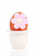 One chicken egg with pink flower in holder