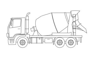 Cement mixer truck vector